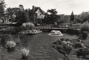 Black and White Photo Overlooking Pond and Dean's Residence