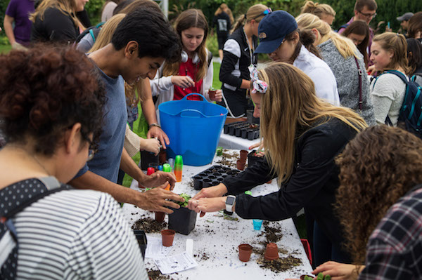 Student Receiving Plant at Plant Adoption Day
