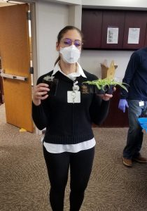 UW Hospital staff member with new plants