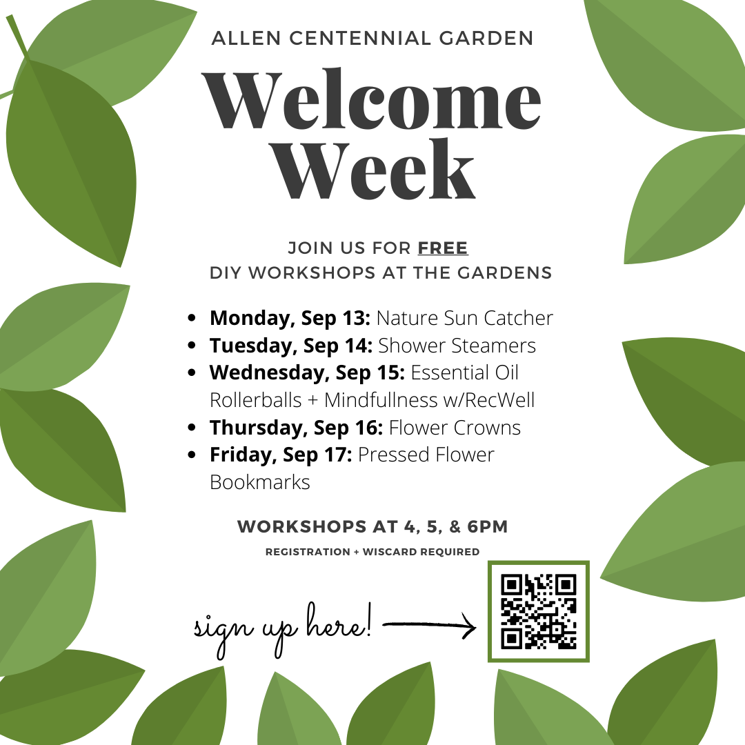 Welcome week schedule (also typed out in post).